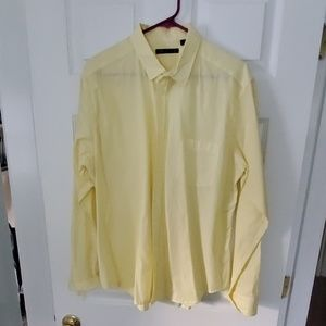 Theory yellow and white stripe button down